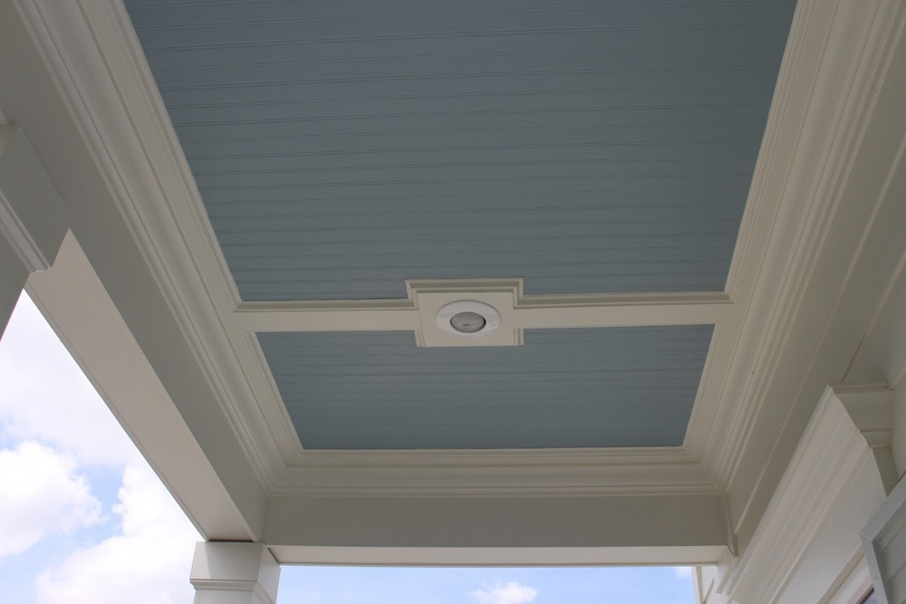 Blue bead board porch ceiling in New Orleans - Strong Shield