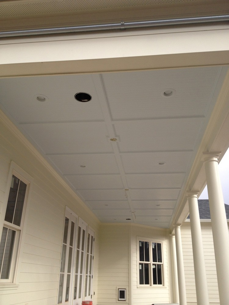 Trimmed porch ceiling with bead board - Strong Shield