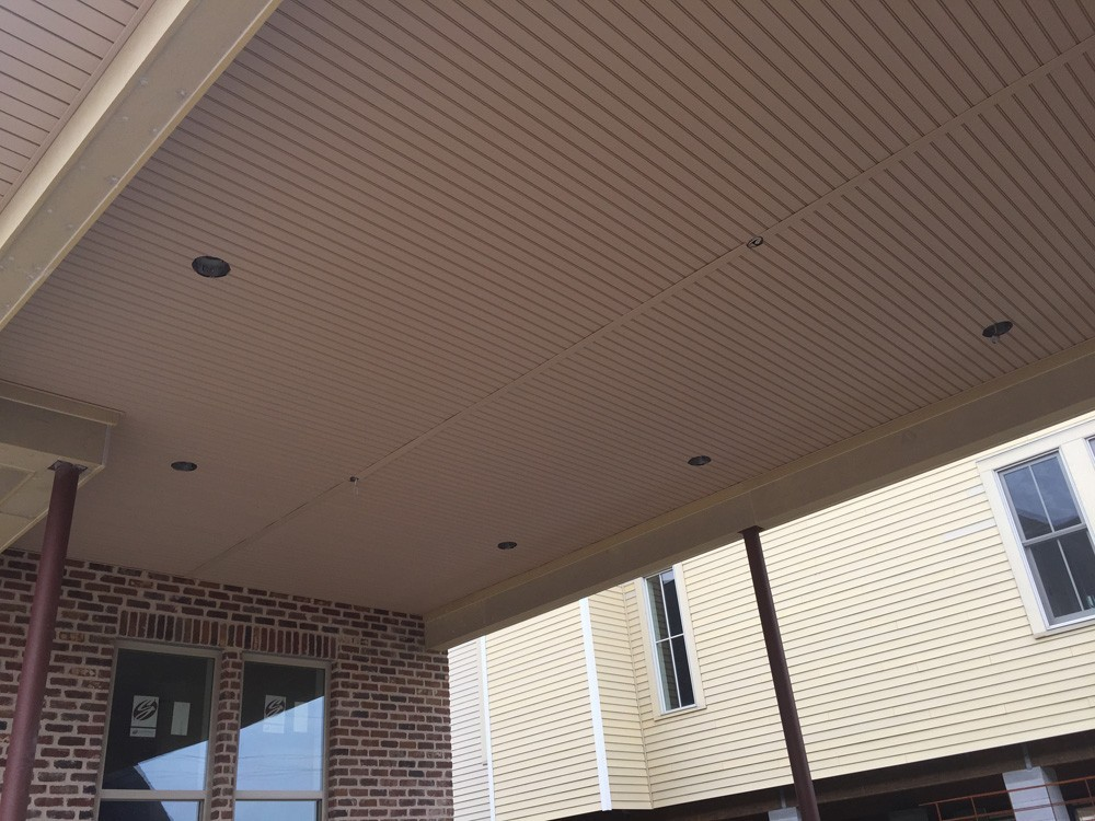 Porch ceiling coordinating with siding - Strong Shield