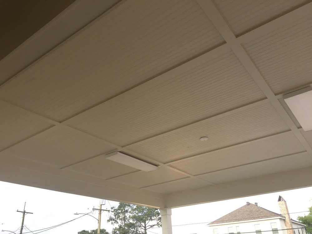 Large porch ceiling with bead board and trim - Strong Shield