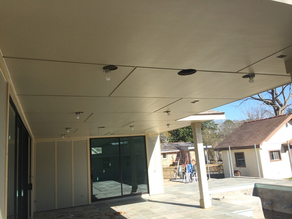 Porch ceiling with recessed lights - Strong Shield