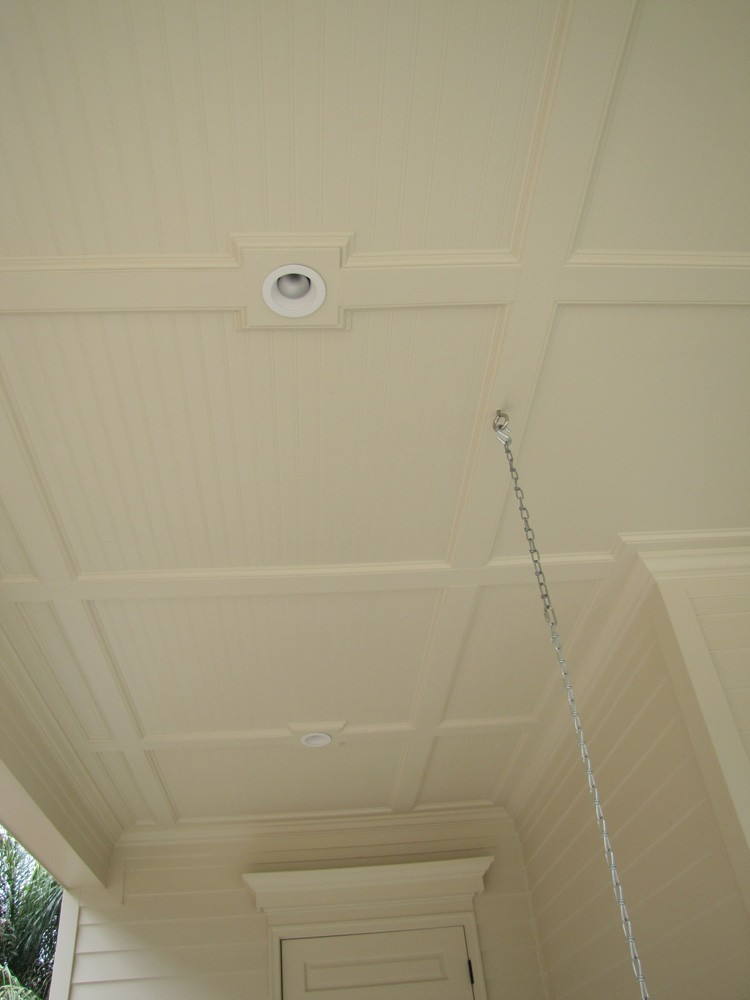 Bead board, trim, and recessed lights for patio in Metairie- Strong Shield