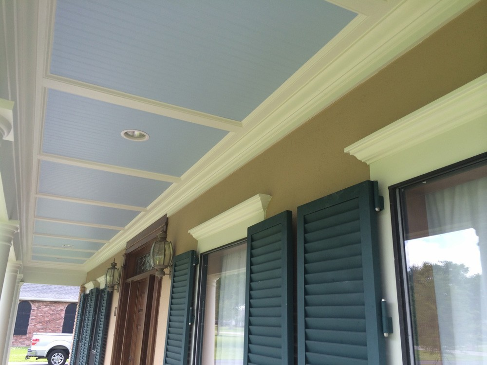 Bead board, trim, and recessed lights for Metairie front porch - Strong Shield