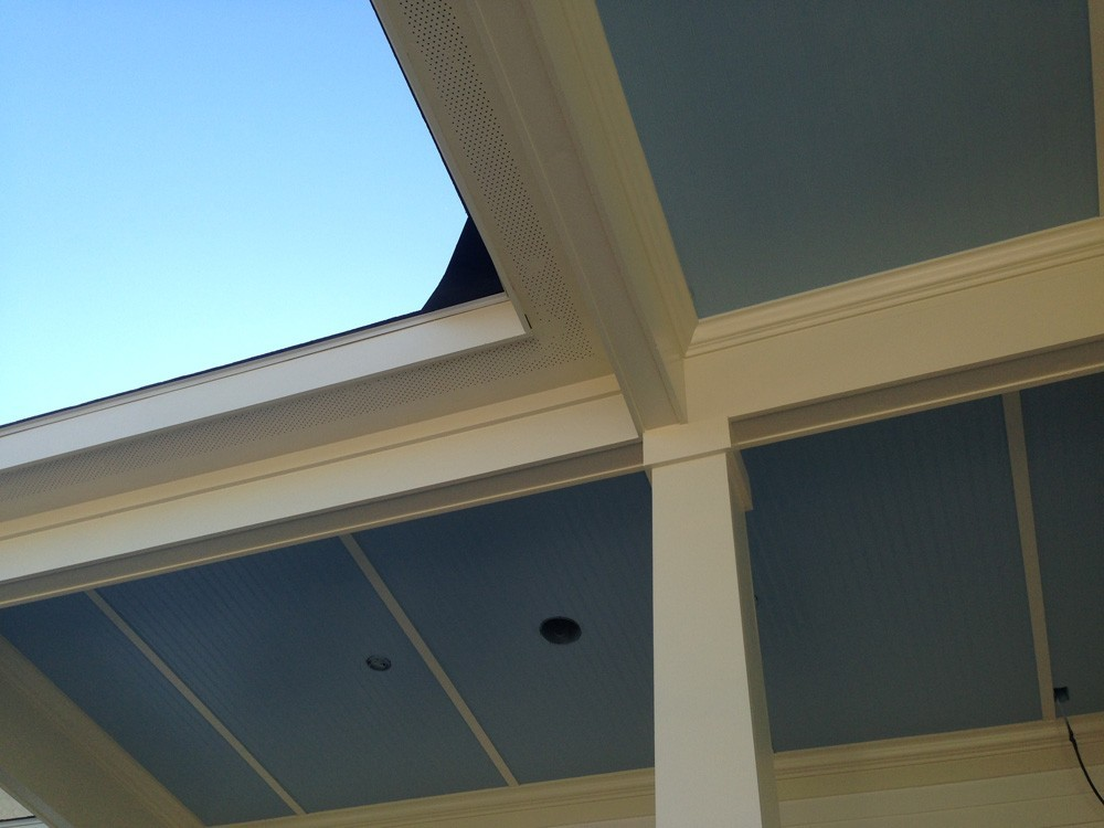 Blue bead board porch ceiling with craftsman trim - Strong Shield