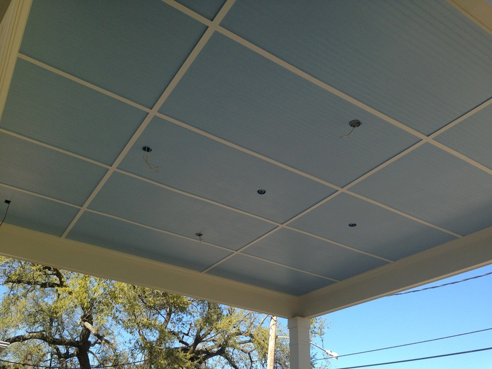 Tall blue porch ceiling with white trim - Strong Shield