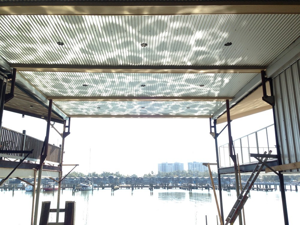 Boat slip deck and ceiling with recessed lights - Strong Shield
