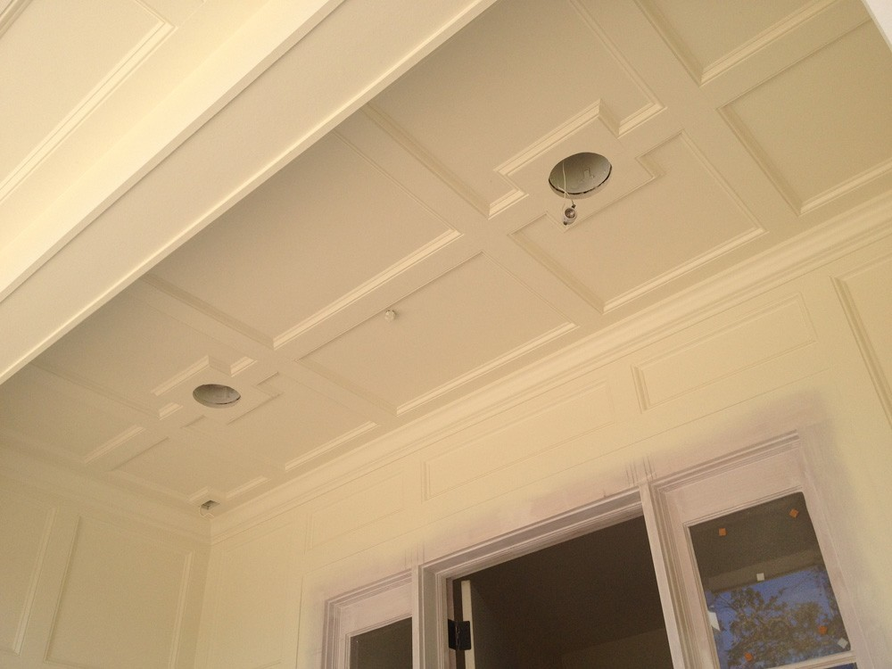 Custom coffered trim porch ceiling - Strong Shield