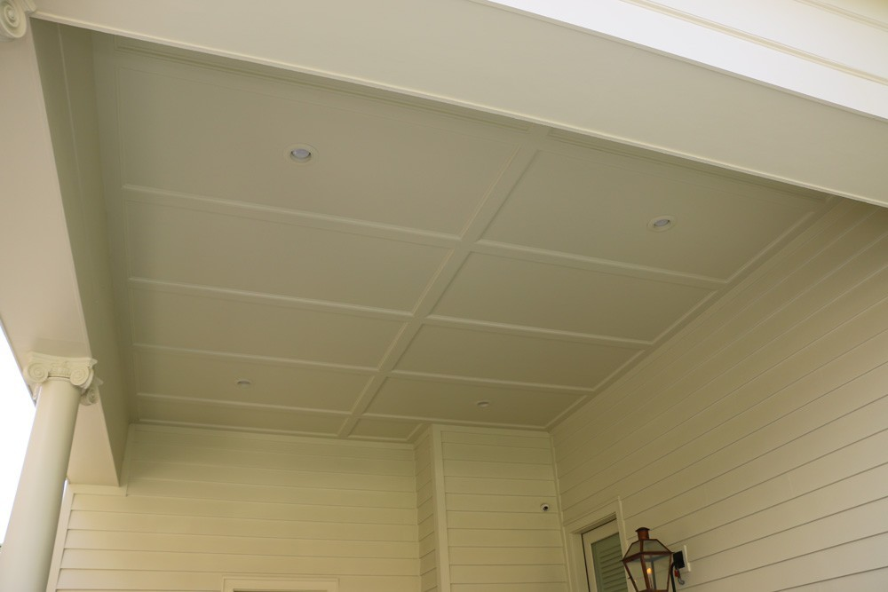 Trimmed porch ceiling with traditional columns - Strong Shield