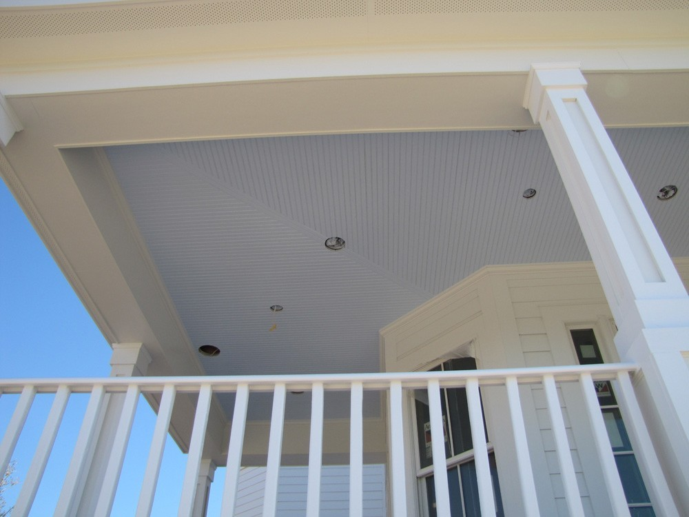 Blue New Orleans porch ceiling with recessed lights - Strong Shield
