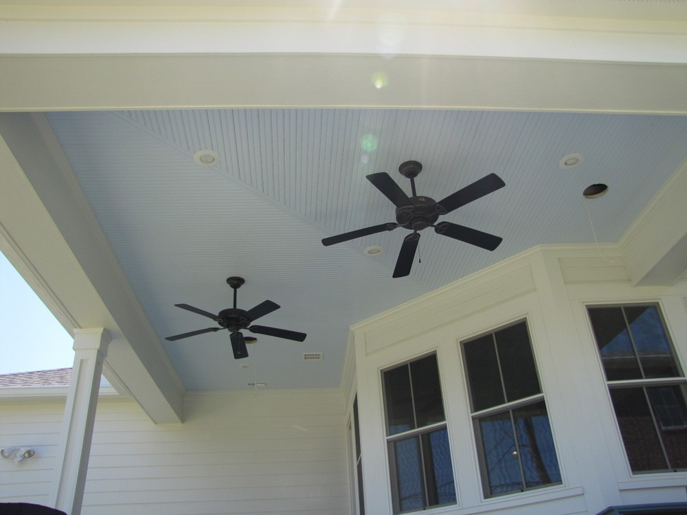 Blue bead board porch with fans - Strong Shield