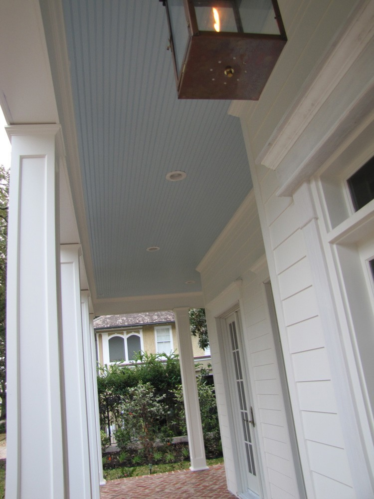 Bead board porch ceiling with gas lantern - Strong Shield
