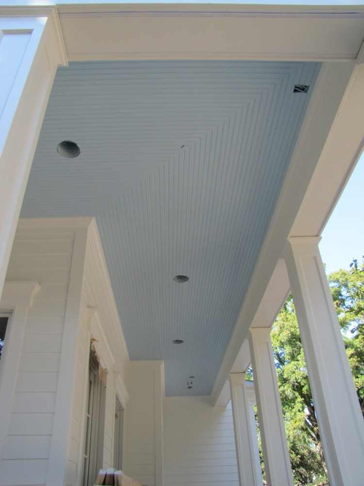 Corner of bead board porch ceiling - Strong Shield