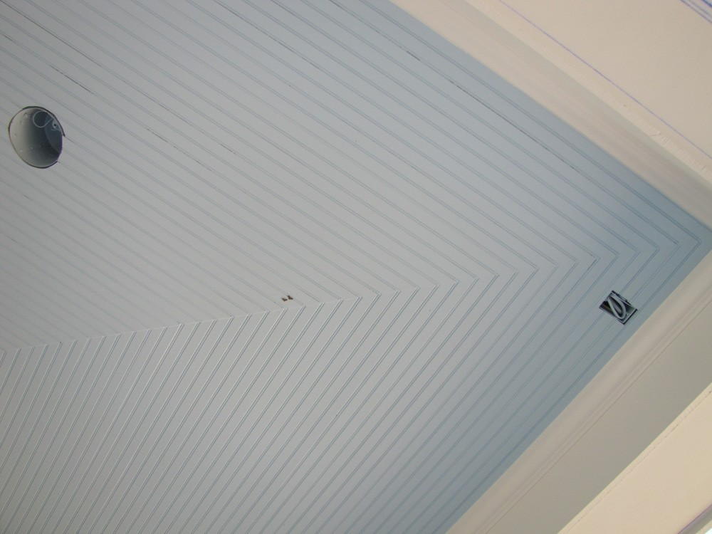 Close up of bead board ceiling corner - Strong Shield
