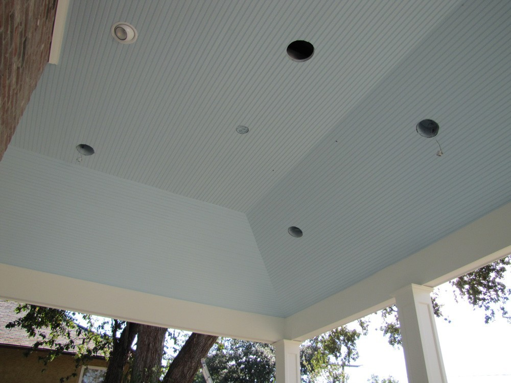 Bead board on tray porch ceiling - Strong Shield