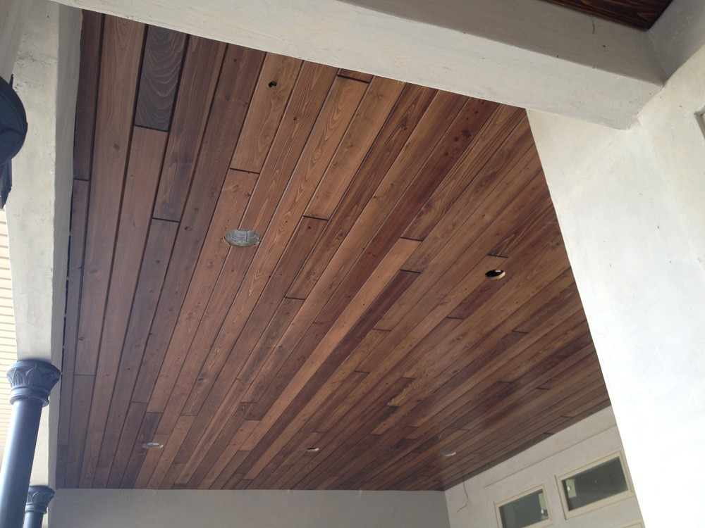 Wood porch ceiling with recessed lights - Strong Shield