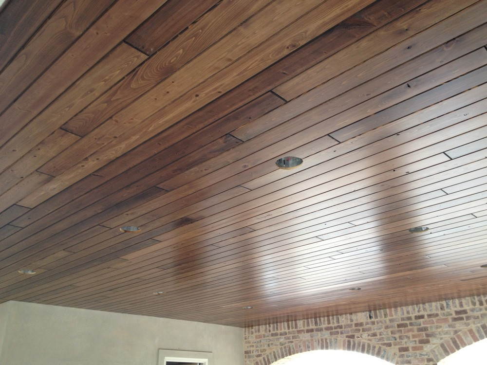 Wood porch ceiling with can lights - Strong Shield