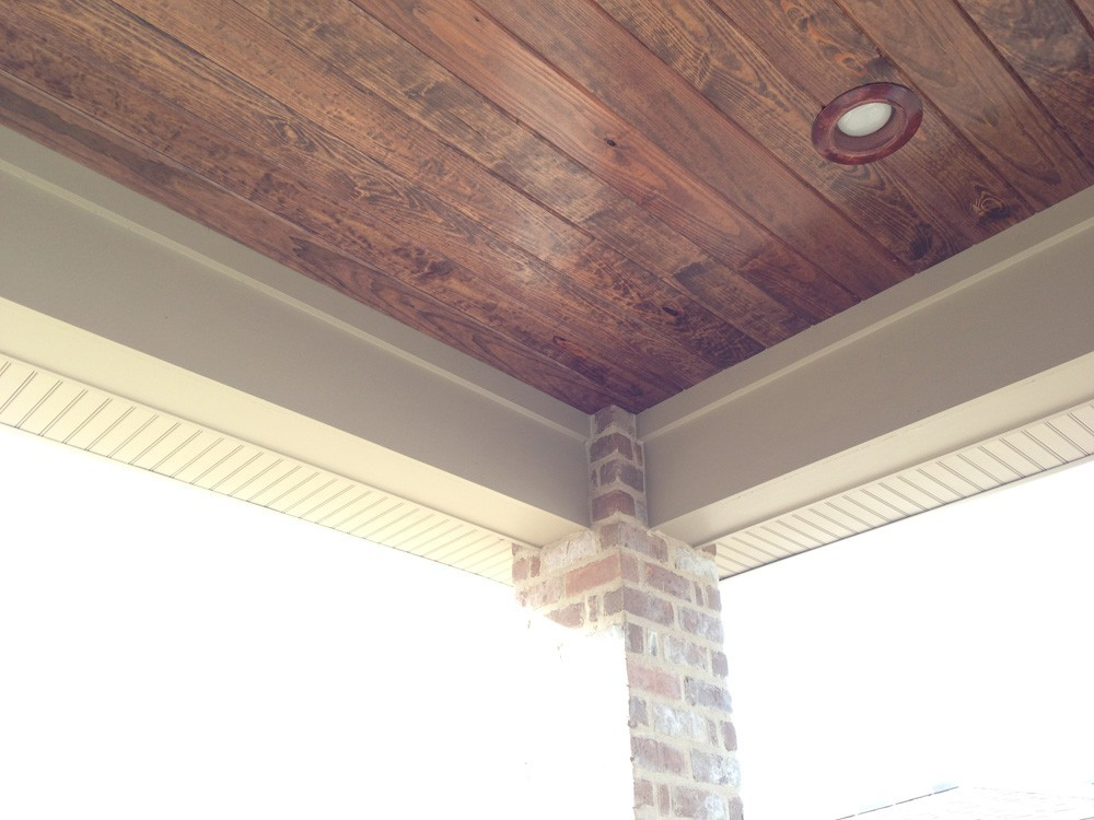 Wood porch ceiling with brick columns - Strong Shield