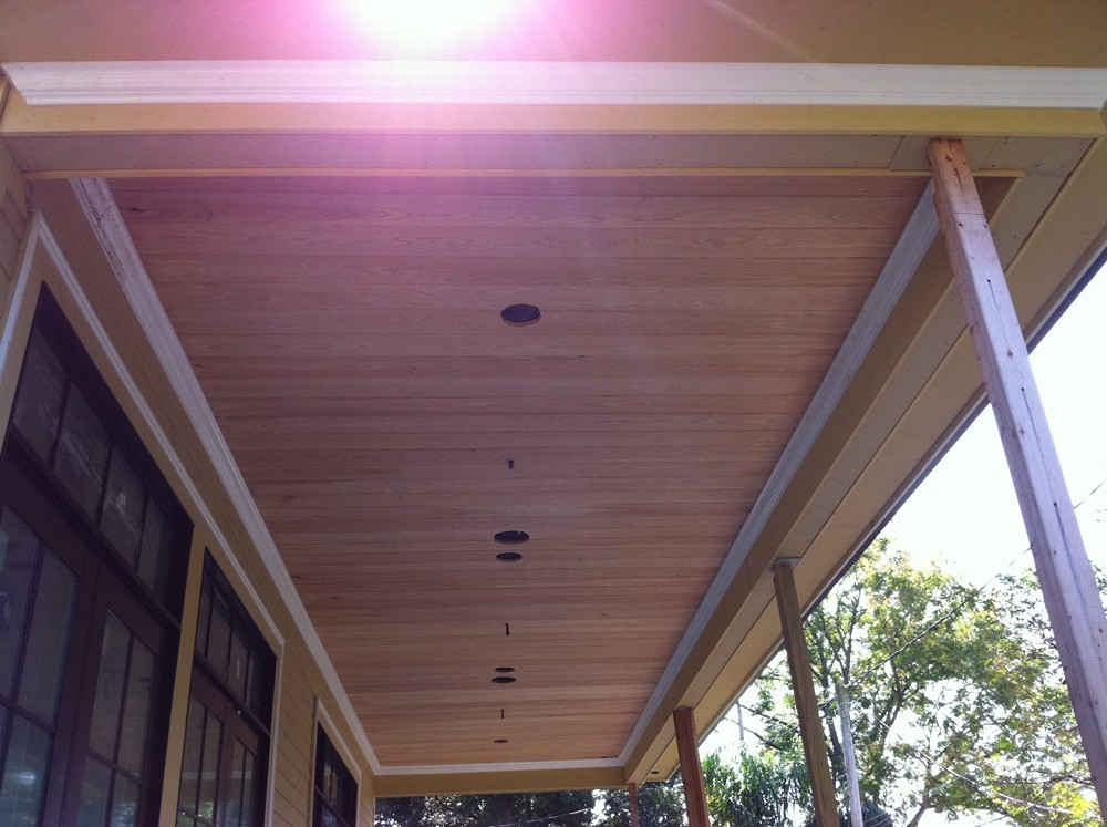 Porch ceiling with wood planks and recessed lights - Strong Shield