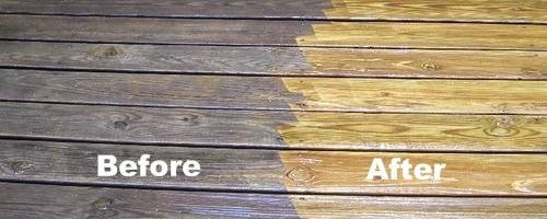 Pressure washing wood deck before and after - Strong Shield