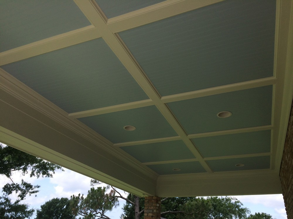 Custom painted blue porch ceiling - Strong Shield
