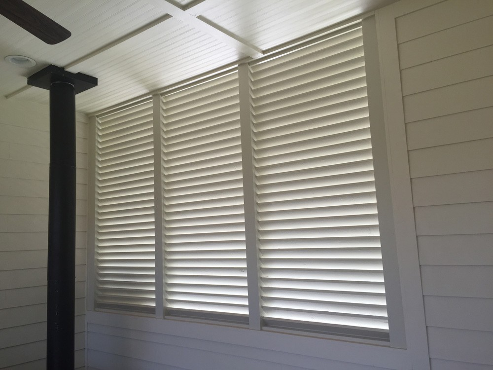 Shutters on covered patio - Strong Shield
