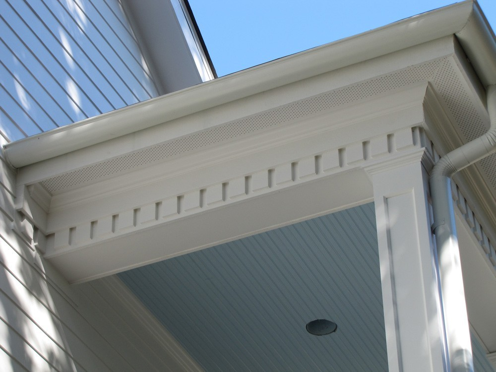 Dentil molding, bead board ceiling on porch ceiling - Strong Shield