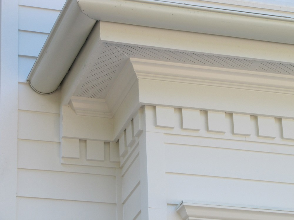 Craftsman style trim with dentil details - Strong Shield