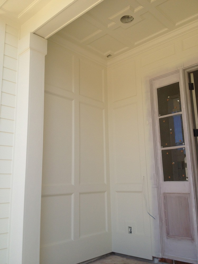 Coffered ceiling and wall trim for porch - Strong Shield