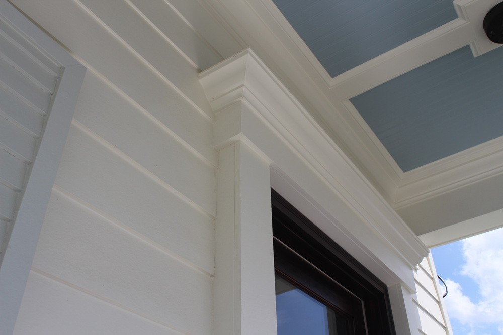 White craftsman trim and blue bead board ceiling - Strong Shield