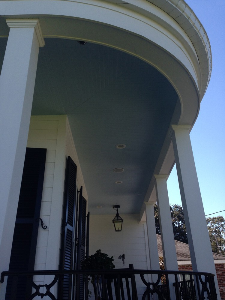 Beard board and iron accents for New Orleans porch - Strong Shield