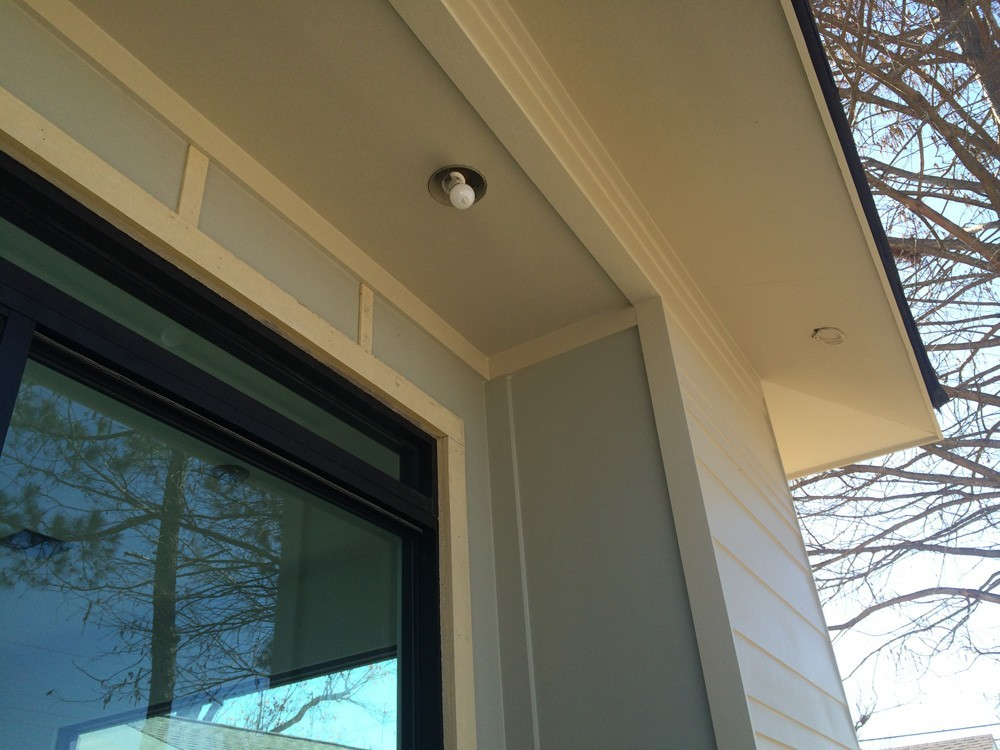 Craftsman trim around door and porch ceiling - Strong Shield