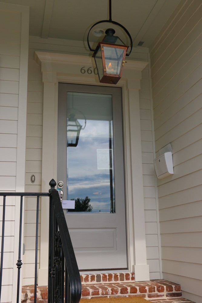 Craftsman front door trim with grey door - Strong Shield
