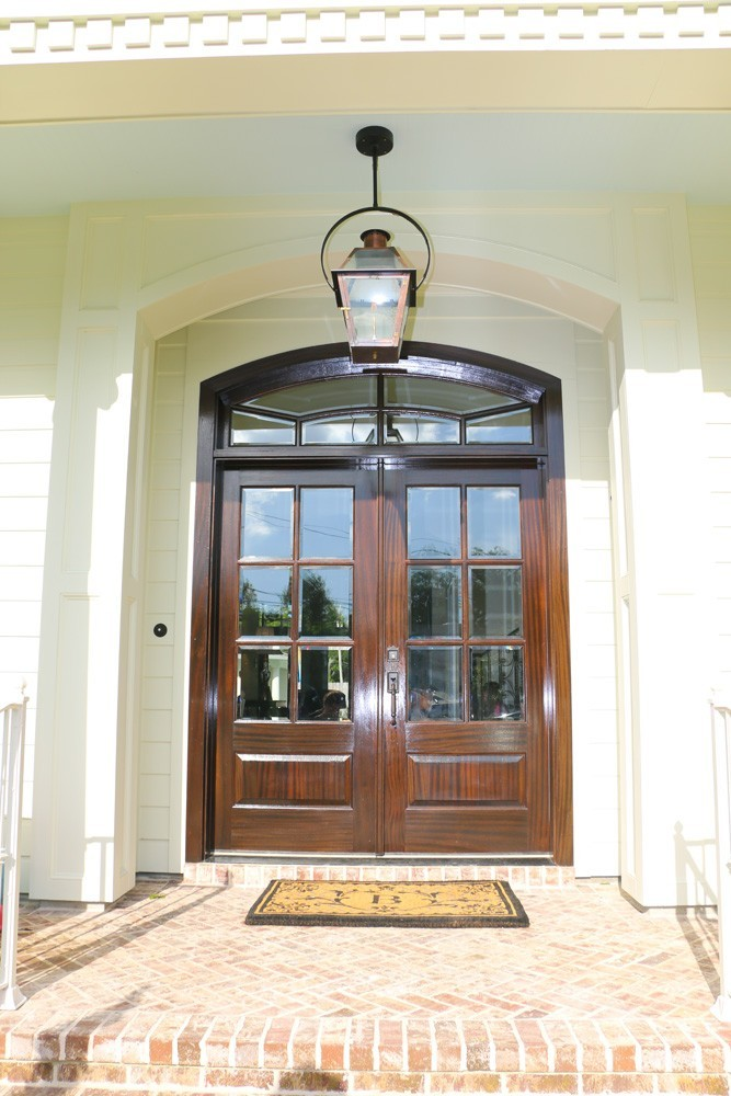Craftsman style front door trim and wooden french doors - Strong Shield