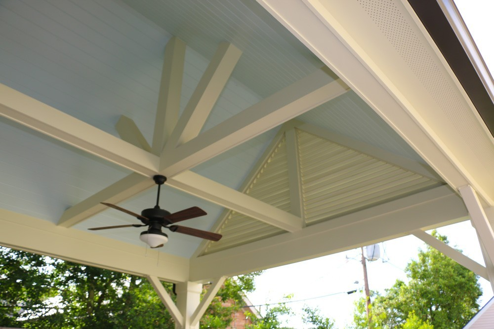 Cathedral style porch ceiling with wood beams - Strong Shield