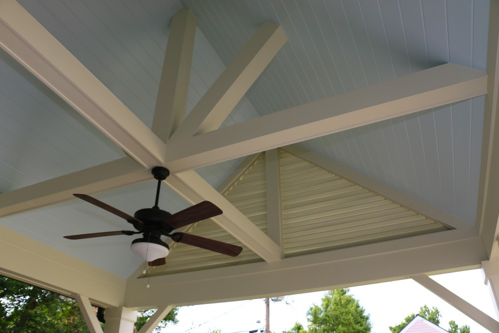 Blue bead board porch ceiling with white craftsman beams - Strong Shield