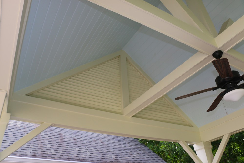 Bead board ceiling, louvered panel accent, and craftsman trim - Strong Shield