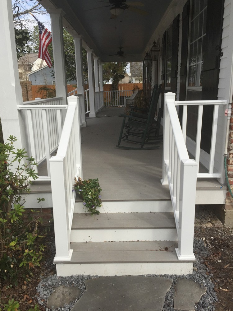 New Orleans style front porch with craftsman railing - Strong Shield